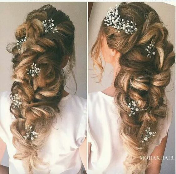 Beautiful style is perfect for brides with long and thick locks