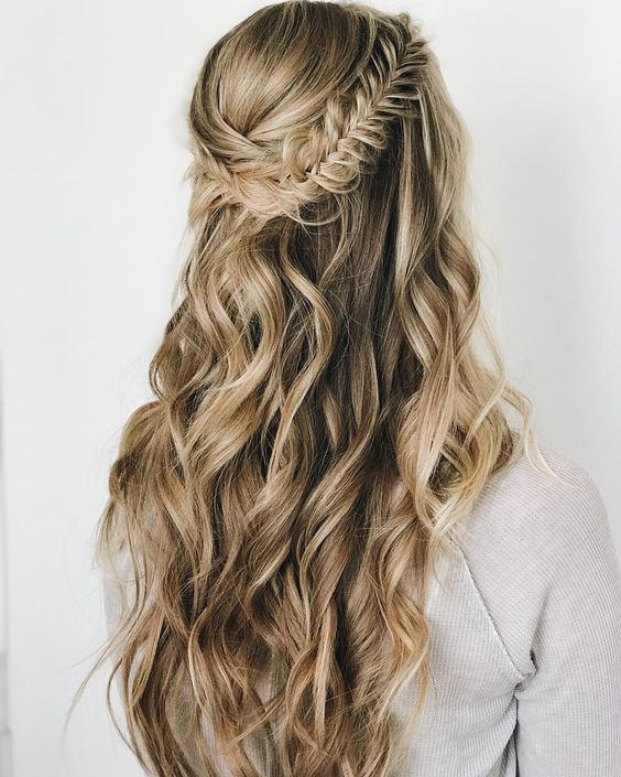 Braids half up half down hairstyle boho hairstyle