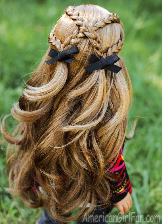 Criss-Cross Braid Pigtails American Girl Doll Hairstyle