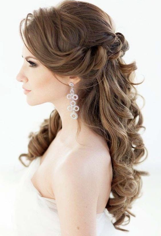 Half Up Wavy Wedding Hairstyle