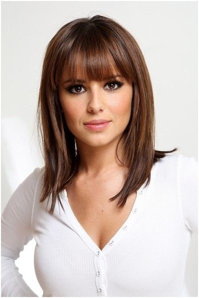 Medium Hairstyles with Blunt Bangs