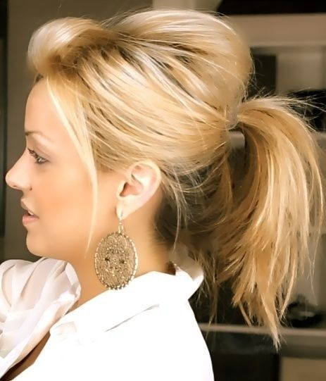 Messy Cute Ponytail Hairstyle for Medium Hair