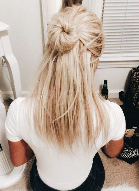 Messy bun half updo blonf medium hair