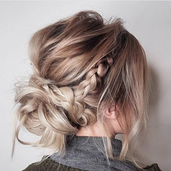 Messy updo hairstyles,Crown braid hairstyle