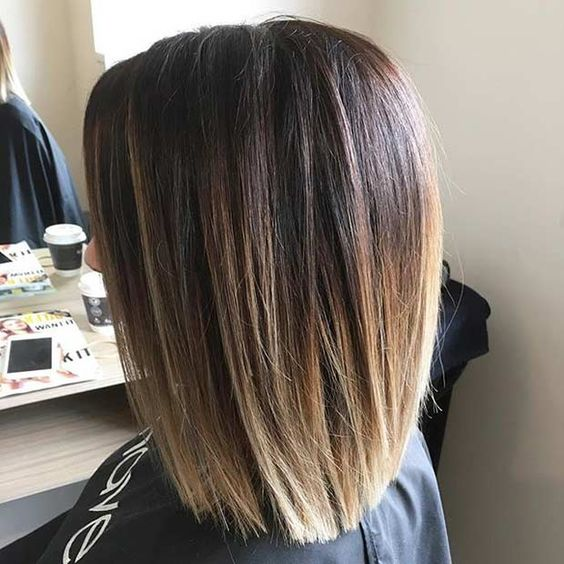 Sombre Blunt Shoulder Length Bob Haircut
