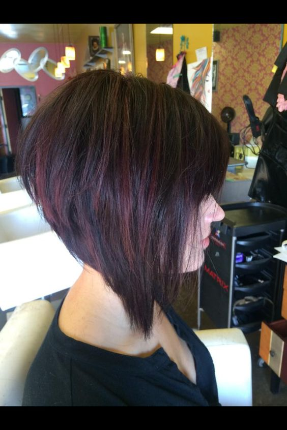 Graduated bob with red violet highlights