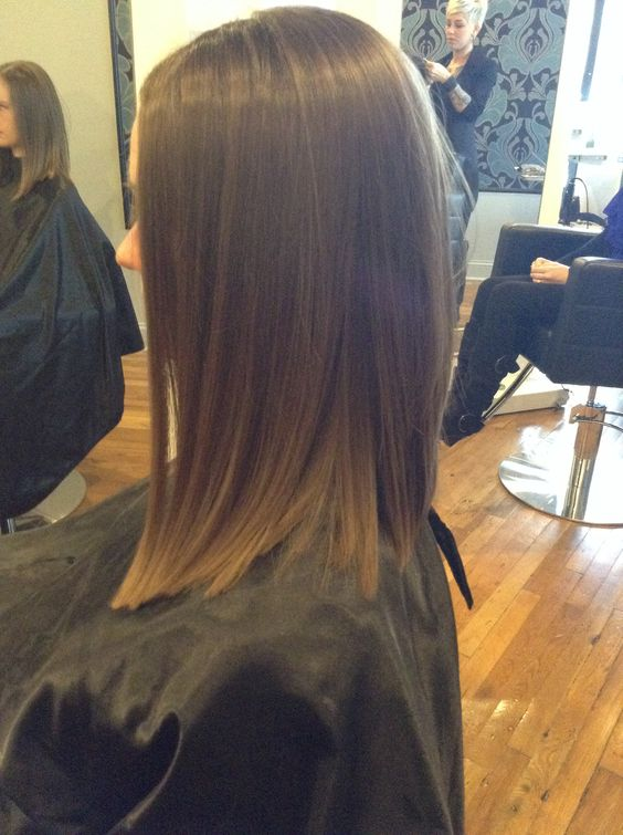 Long sleek angled bob