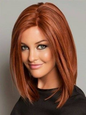 Medium Striaght Auburn Remy Human Hair Wig