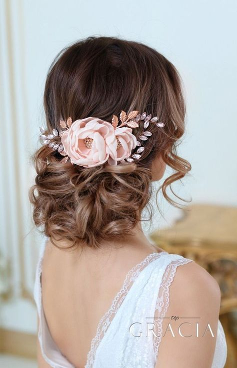 DIONA Rose Gold Blush Bridal Hair Flower With Crystal