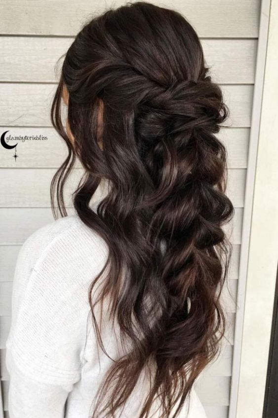 Wedding Hairstyles Brunette Half Up