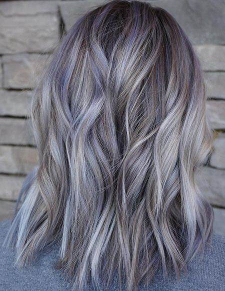 Grey Hair Color Highlights Ideas for Medium Hairstyles 2019