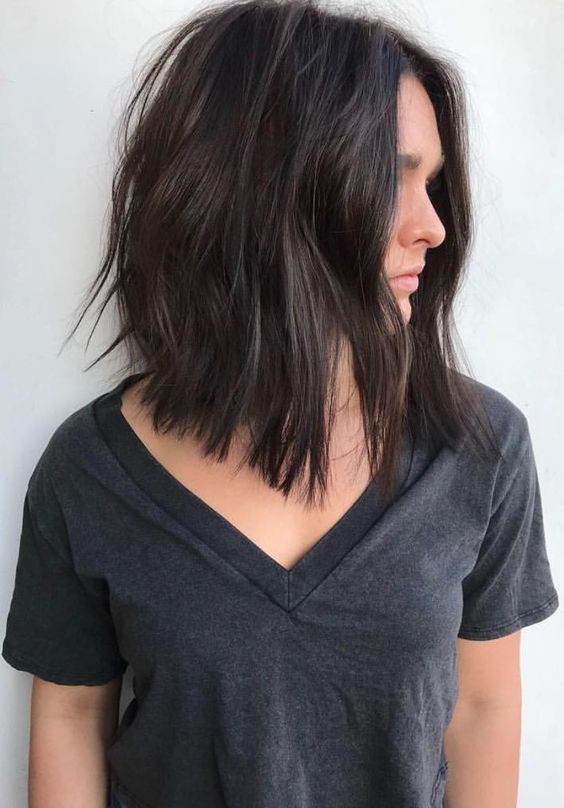 Beautiful long angled bob hair