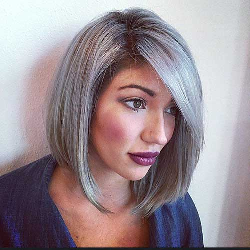 Short Gray Mid Length Bob Hair