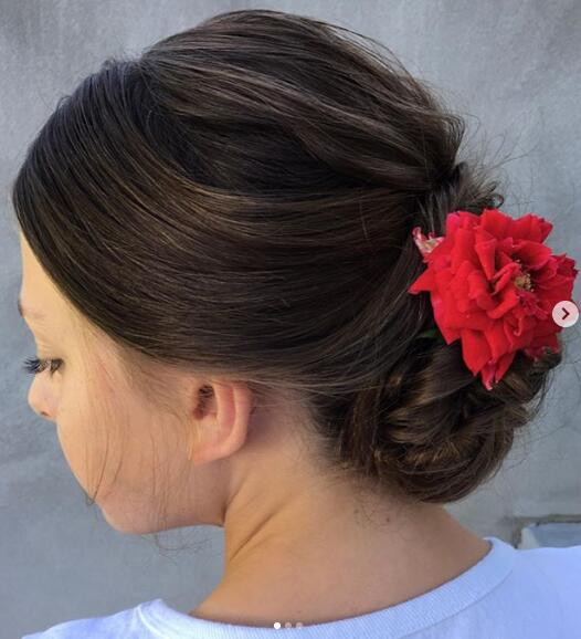 Twisted Updo with flower