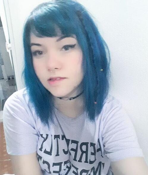 short blue hair
