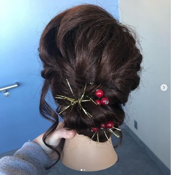 holiday inspired updo.