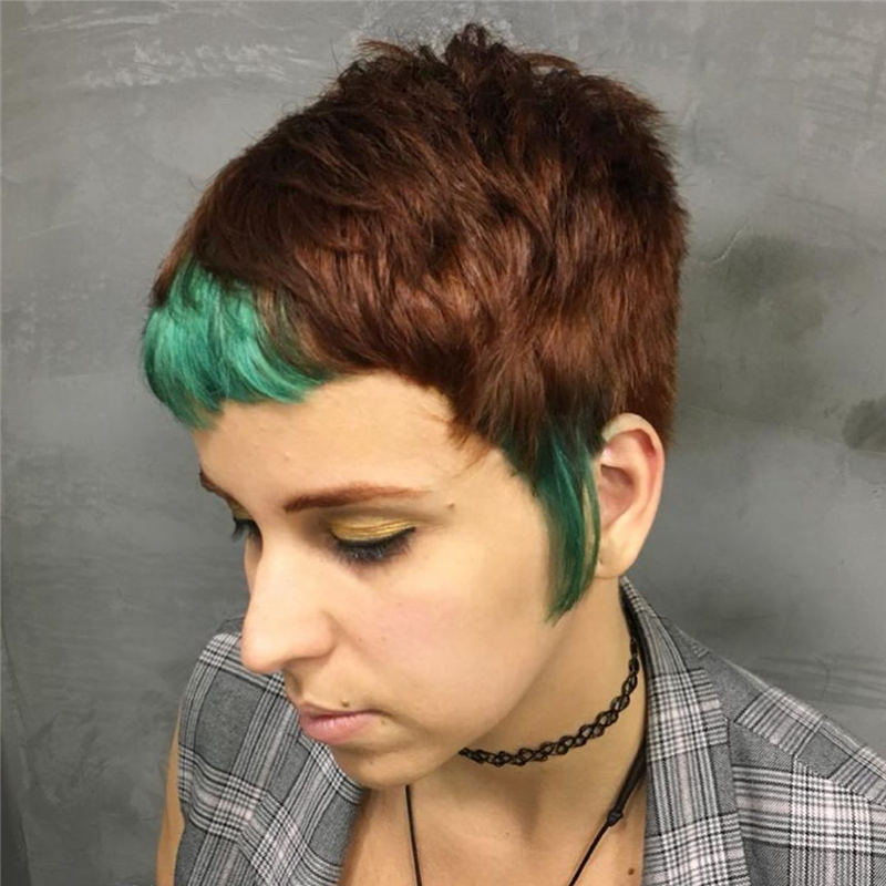 Trendy Colored Pixie Haircut for Short Hair 15