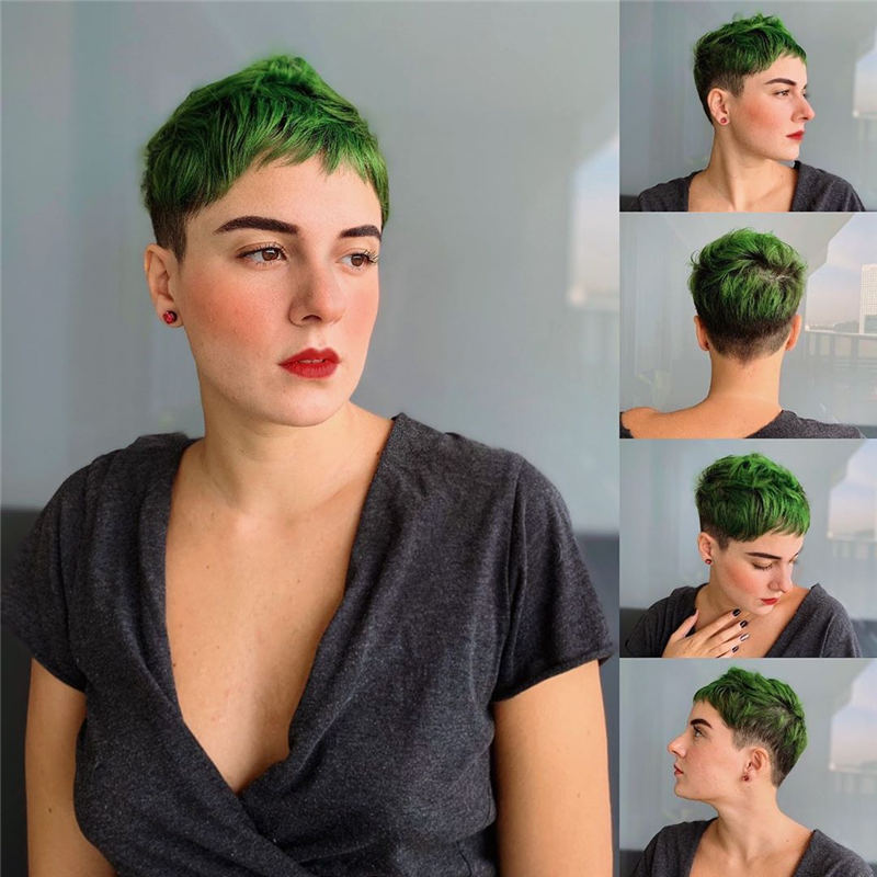 Trendy Colored Pixie Haircut for Short Hair 26