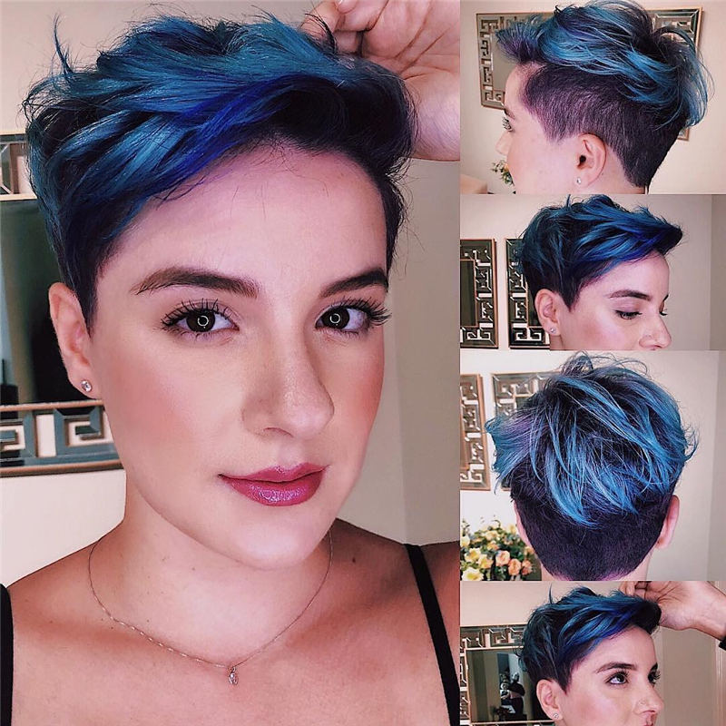 Trendy Colored Pixie Haircut for Short Hair 29