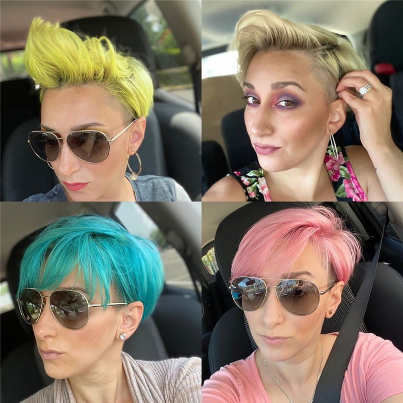 Trendy Colored Pixie Haircut for Short Hair 38