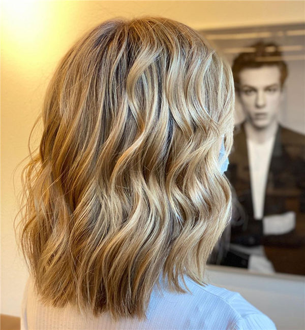 Blond Balayage and Medium Haircut