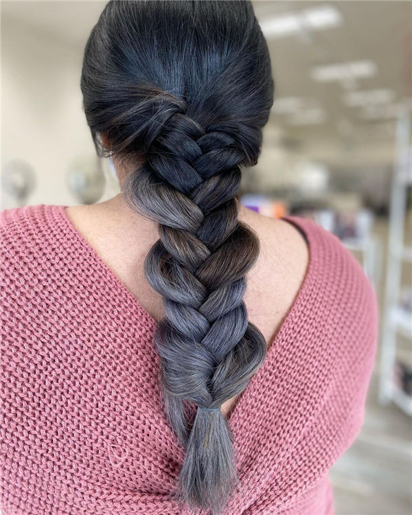 Silver Ombre Fishtail Braid