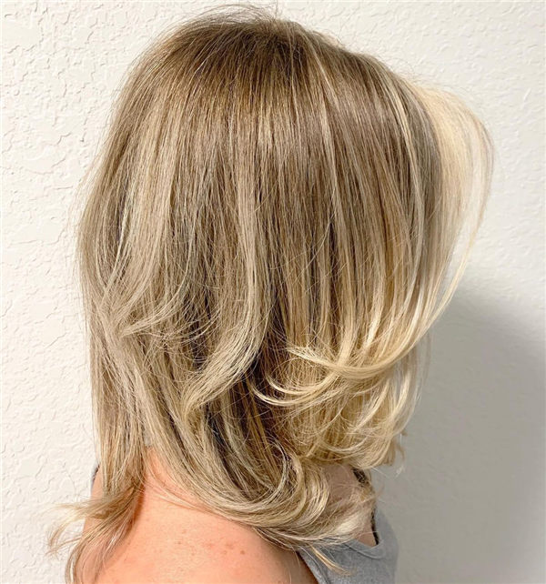 Blonde Medium Layered Haircut