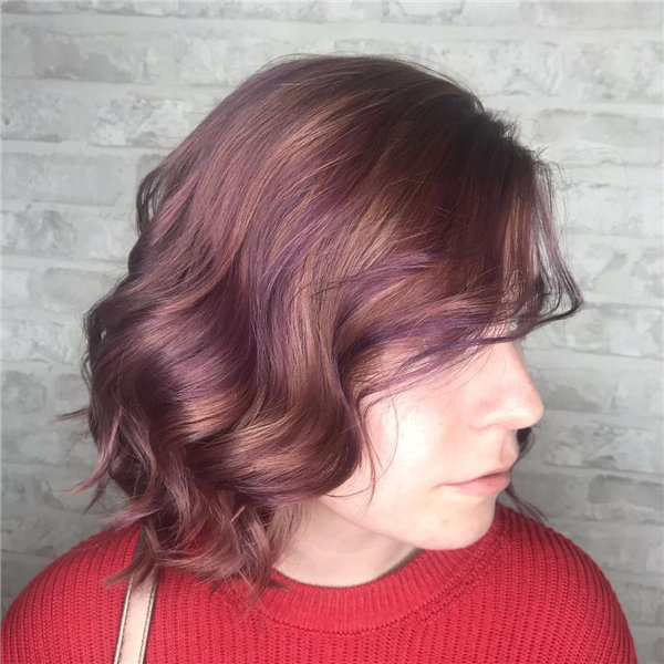 Natural Root Melted into Pastel Peach and Purple Ends