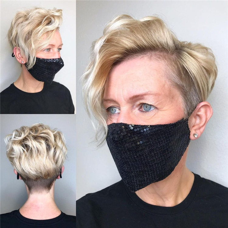 Blonde Pixie with Side Parting