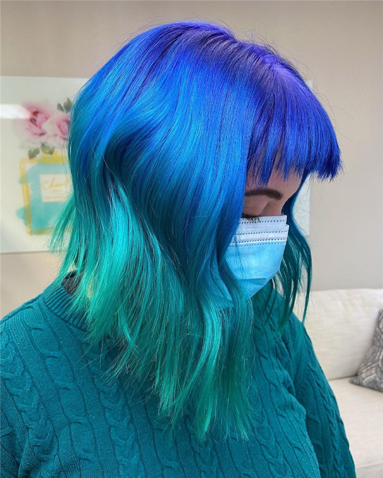 Hottest Blue Hairstyles and Color Ideas 2021 47