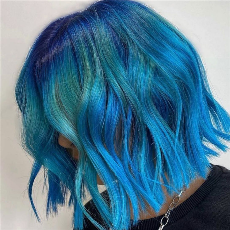 Hottest Blue Hairstyles and Color Ideas 2021 62