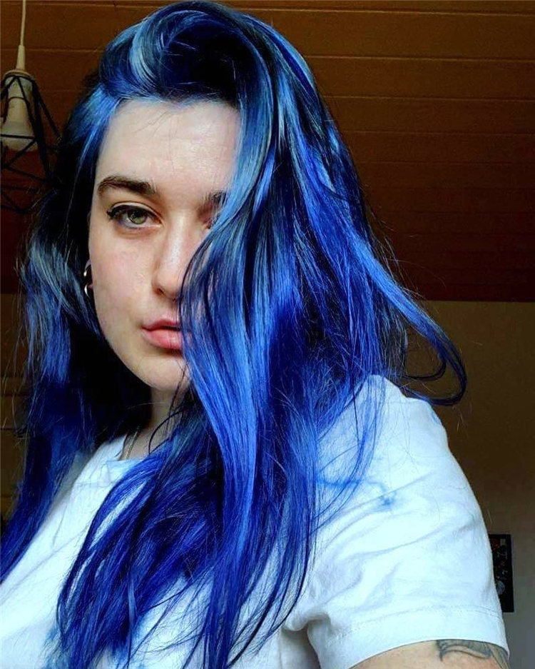 Hottest Blue Hairstyles and Color Ideas 2021 66
