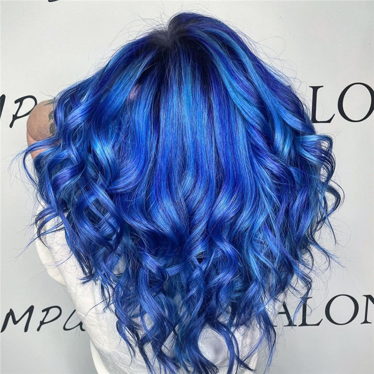 Hottest Blue Hairstyles and Color Ideas 2021 71