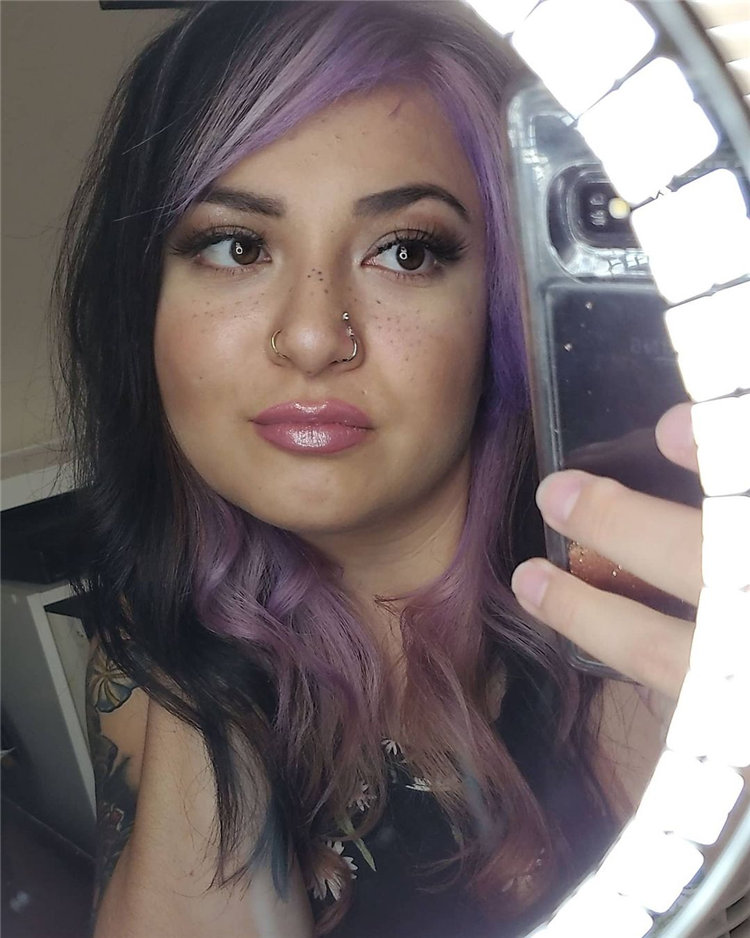 Purple Hair for Round Face