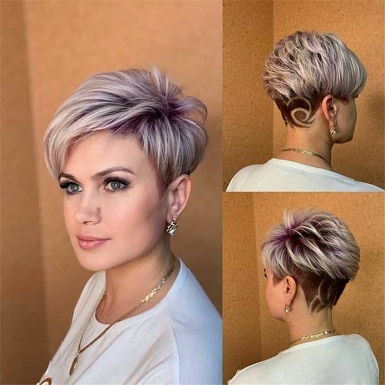 Blonde Pixie Hair with Purple Highlights