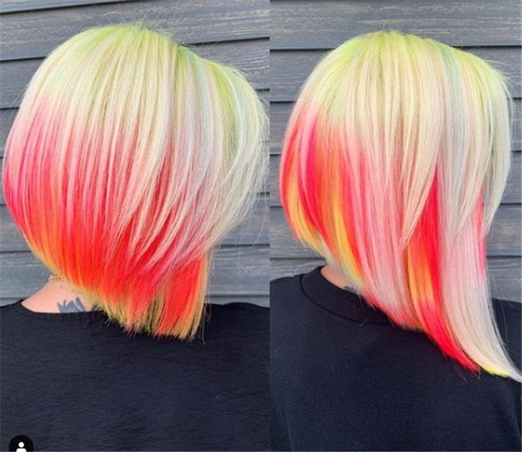 Blonde and Red Angled Bob