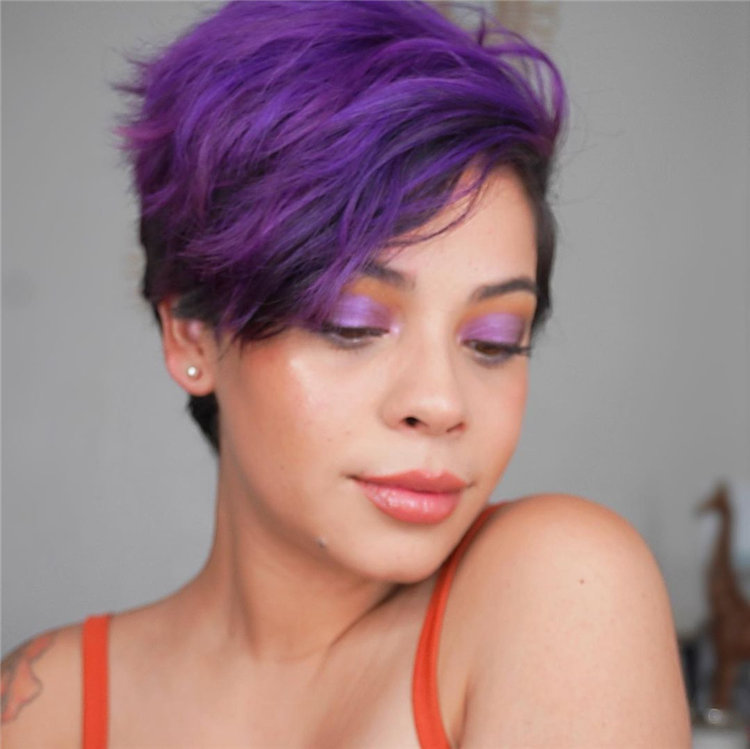 Side Parting Purple Pixie