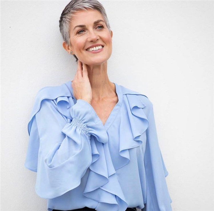Silver Pixie Cut for Women Over 50