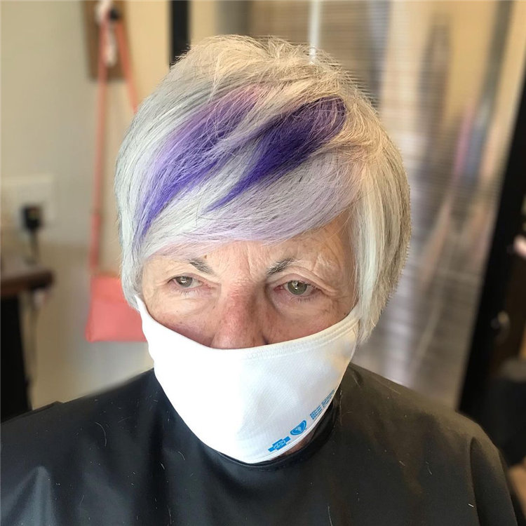Silver Pixie with Purple Highlights