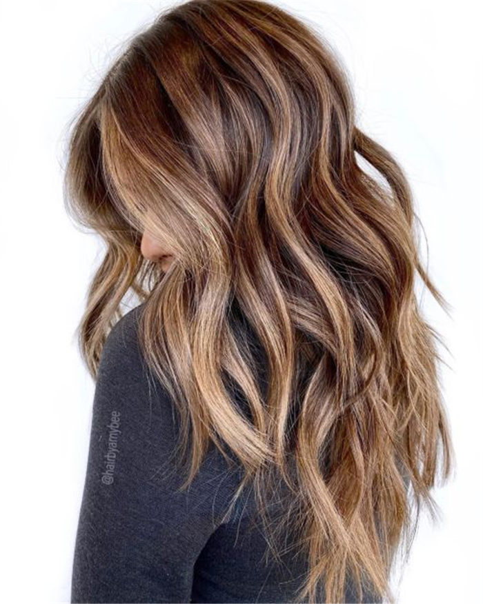 Blonde and Caramel Highlights on Brown Hair