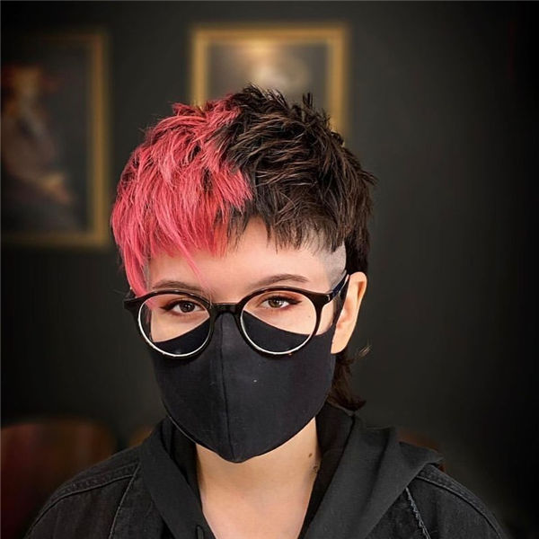 Red and Black Pixie Cut